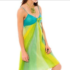 Free People Blue Green Rays Rose Silk Dress